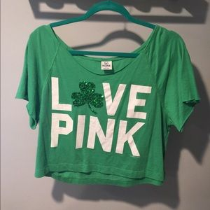 VS PINK a St Patrick's Day Crop Top